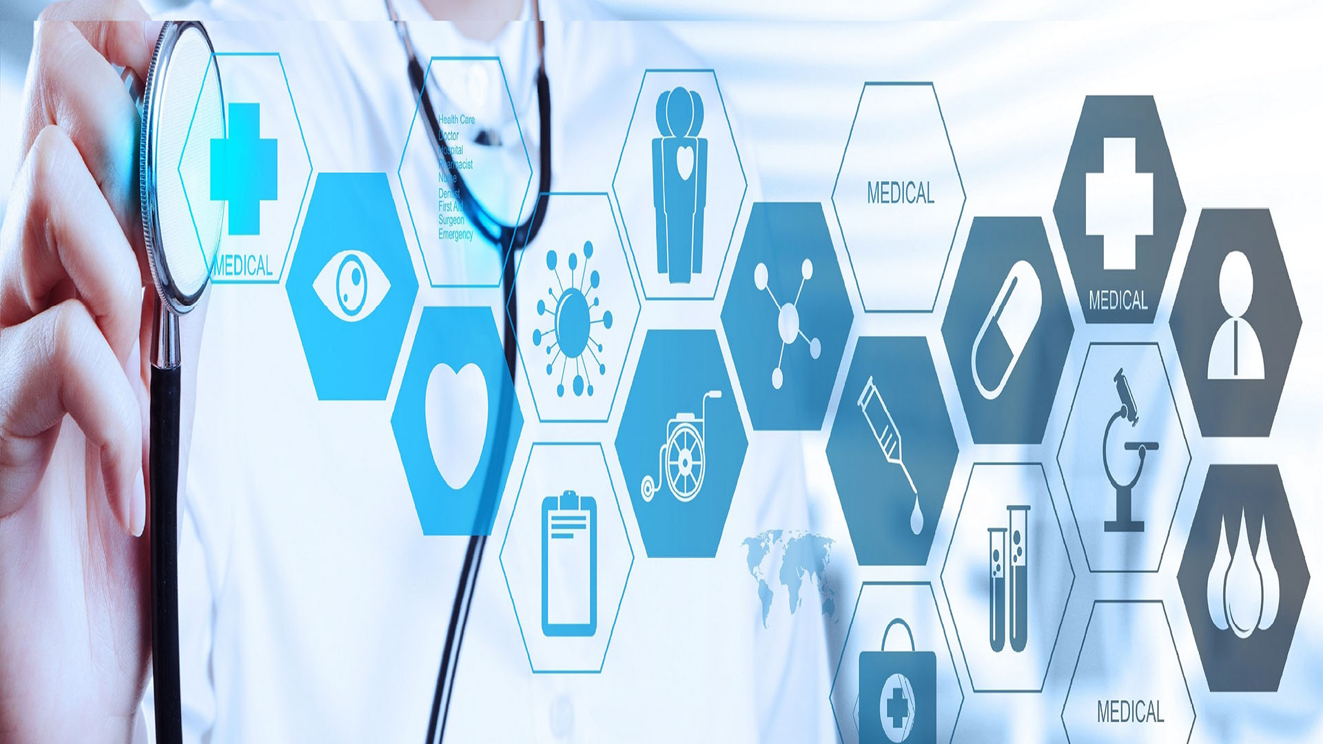 Doctor with a stethoscope in the hands and office background